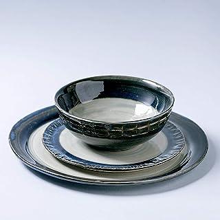 Juego de cerámica vintage rústico hecho a mano, 3 piezas, dos platos y un cuenco, decoración del hogar, esmalte gris azul ...