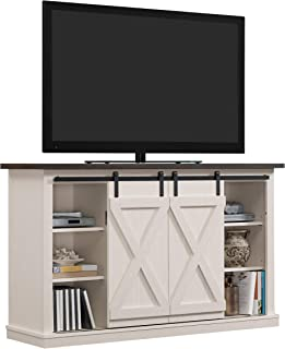 Pamari Wrangler Sliding Barn Door TV Stand, Off-White