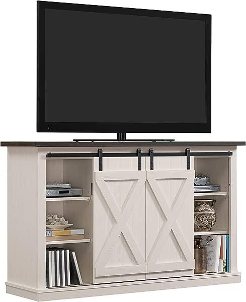 Pamari TC54 6127 TPG03 Wrangler Sliding Barn Door TV Stand Off White