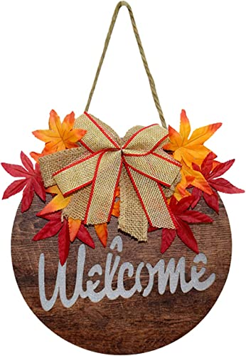 discount SegkopuoL Fall Maple Welcome Sign for Front Door Clearance with Wooden Welcome/Hello Hanging Sign with outlet sale lowest Light for Home Wall Yard Decor (Style A) sale