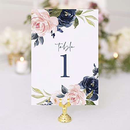 4x6 Table numbers PRINTABLE INSTANT DOWNLOAD Set of 30 navy blue dark gray wedding event  seating assignment escort cards blush light pink