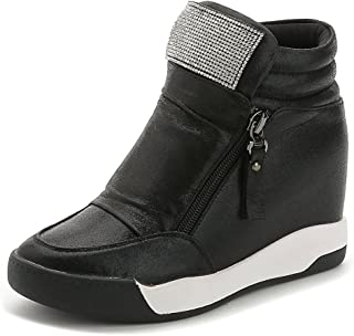 Judy Bacon Womens Cz High Top Platform Sneakers - Increased Height Hidden Heel Rhinestone Wedge Sports Shoes