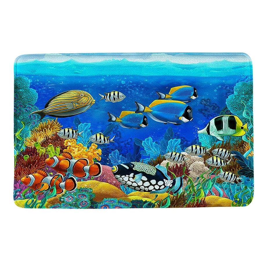 HIYOO Ocean Seabed Coral Theme Design Non Slip Bathmat, Doormat, Bathroom Bath Floor Kitchen Area Door Entrance Rugs Mat, Super Soft Flannel Fabric with Inner Thick Sponge 16