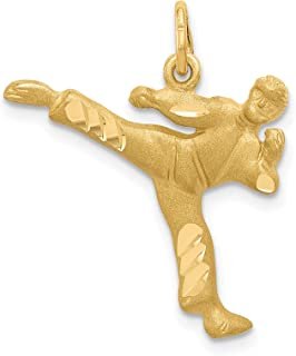 14k Yellow Gold Male Martial Arts Figure Performing Kick Charm 25x20mm