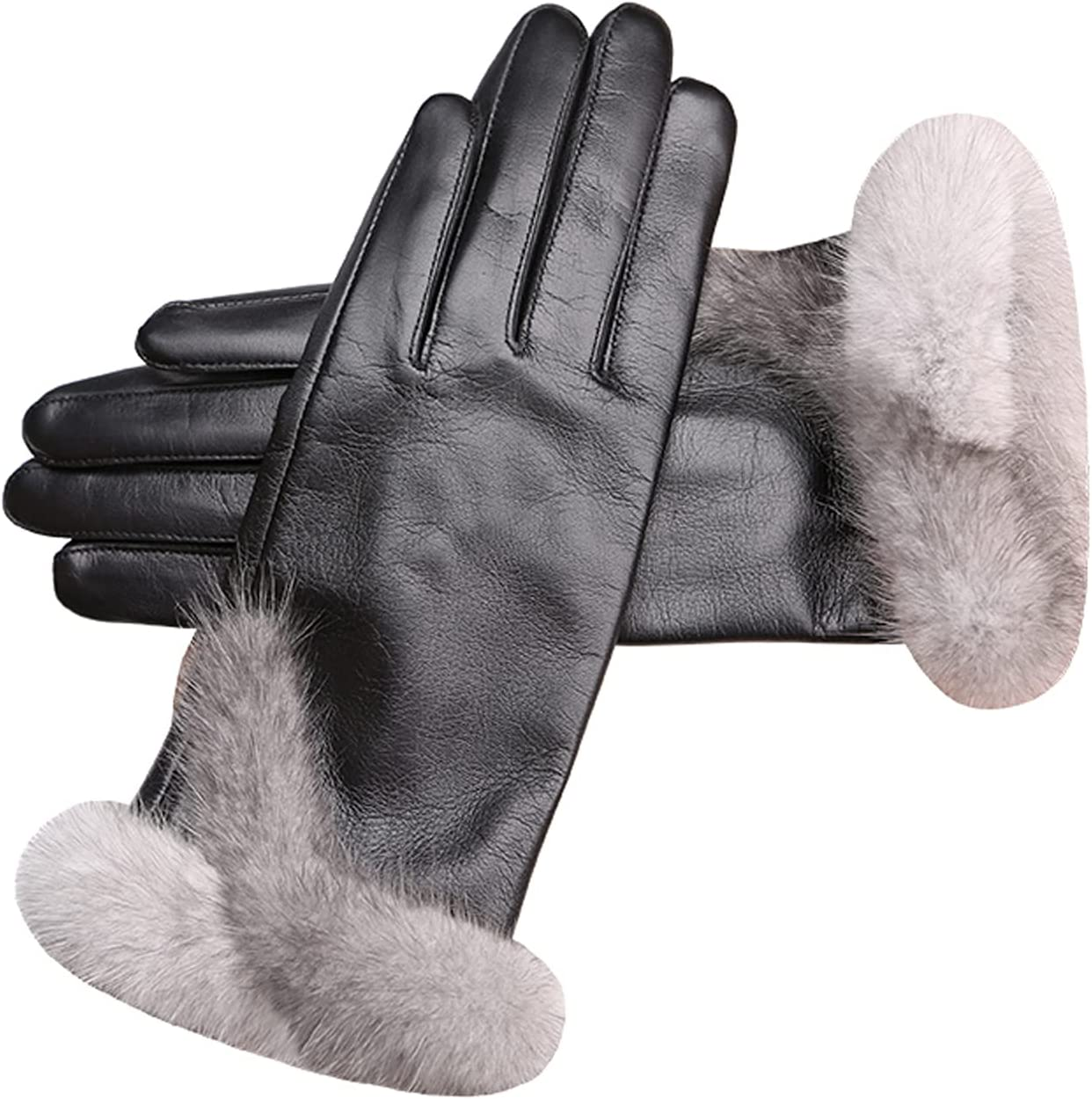 Jjshueryg Mink Wool Lambskin Gloves, Ladies Winter Warm, Cycling and Windproof Leather Gloves, Driving Fashion Gloves