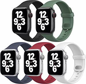 UHKZ 5 Pack Sport Bands Compatible with Apple Watch Bands 38mm 40mm, Soft Silicone Replacement Strap Women Men for iWatch Series SE/6/5/4/3/2/1,Black/Pine Green/Midnight Blue/Wine Red/White,S