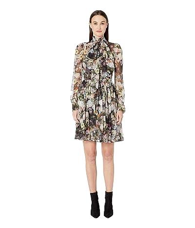 Adam Lippes Printed Chiffon Mock Neck Mini Dress (Black Floral) Women