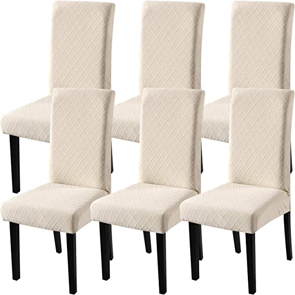 Fuloon Super Fit Stretch Jacquard Removable Washable Short Dining Chair Covers Seat Slipcover For Hotel Dining Room Ceremony Banquet Wedding Party 6 Beige