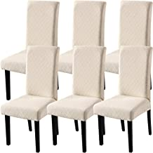 Fuloon Super Fit Stretch Removable Washable Short Dining Chair Protector Cover Seat Slipcover for Hotel,Dining Room,Ceremony,Banquet Wedding Party (Large(6pcs), Beige)