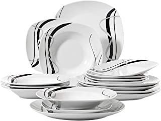 VEWEET 18-Piece Porcelain Ivory White Dinnerware Set Black Stripe Patterns Plate Sets, Dinner Plate, Soup Plate, Dessert Plate, Service for 6 (FIONA Series)