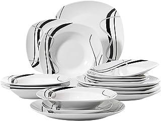 VEWEET, série Fiona, Service de Table, pour 6 Personnes, en Porcelaine (6 Personnes, 18 pièces)