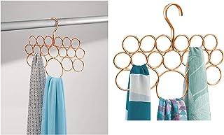 iDesign Perchas ahorra espacio, organizador de pañuelos de metal pequeño con 18 anillos, colgador de accesorios para chales, pañuelos, corbatas o cinturones, color cobre