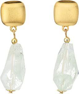 Satin Gold Top with Jade Drop Earrings