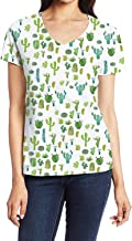 Women's V-Neck Short Sleeve Blouse T Shirts Casual Tops Cow