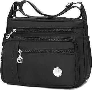 Waterproof Nylon Shoulder Crossbody Bags - Handbag Zipper Pocket Tote Bag Purses Satchel for Ladies Women Girls Black