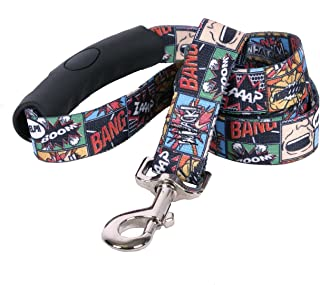 "Yellow Dog Design Vintage Comics EZ-Grip Dog Leash-with Comfort Handle-Large-1"" Wide and 5 feet (60"") long"