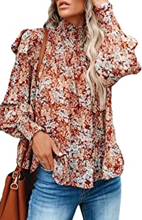 S-Fly Womens Turtle Neck Loose Fit Floral Print Long Sleeve Casual Ruffle Shirt