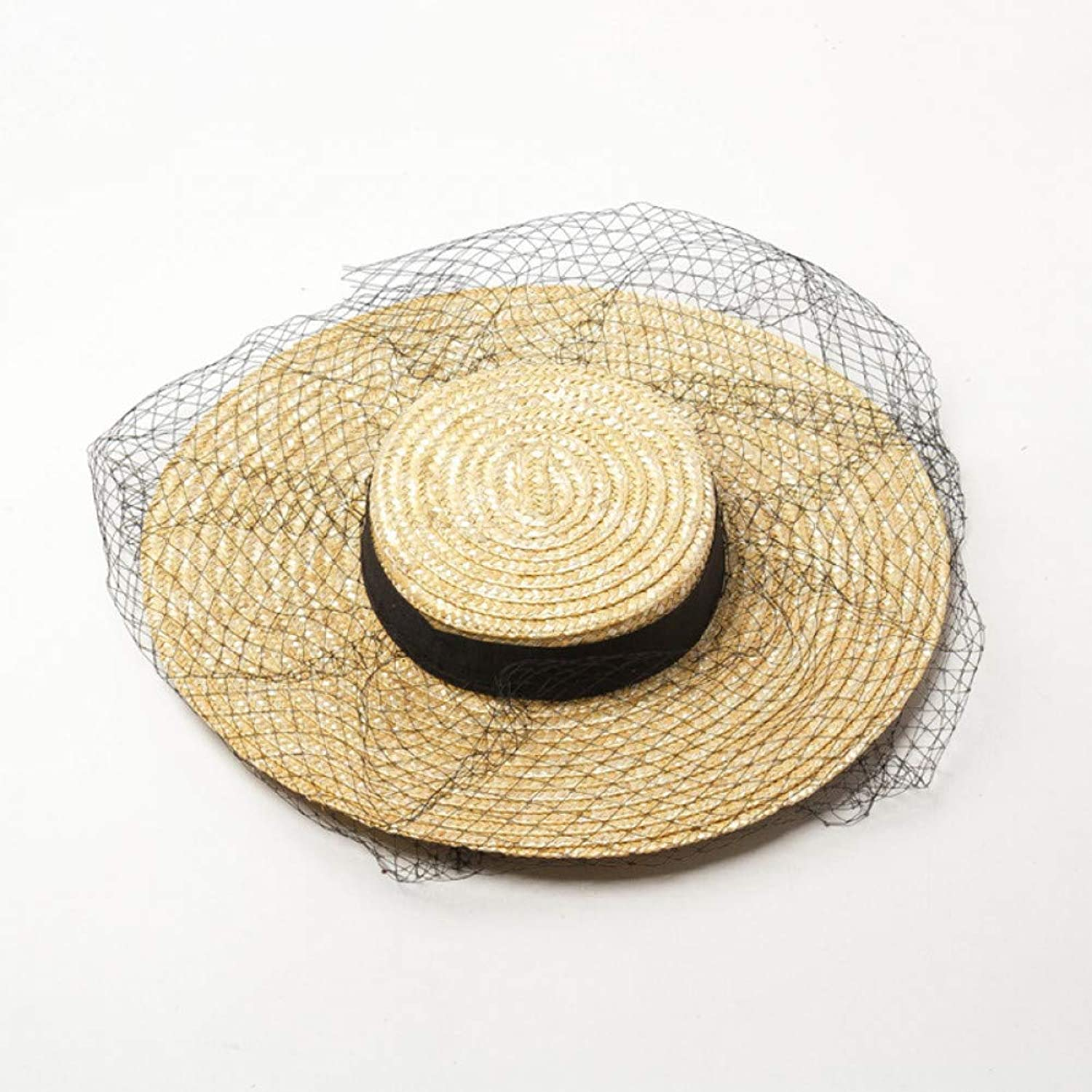 TYMYJF Spring and Summer Shallow Flat Top Wide Mesh Gauze Decorationstraw Straw Hatstage Catwalk Stylewith Flat Straw Hat