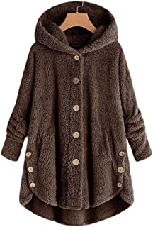 Womens Loose Button Hooded Fluffy Pullover Sweater Coat Outwears