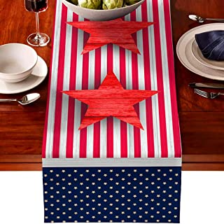 skyfiree American Flag Table Runner July 4th Independence Day Table Runners Patriotic Decorations Cotton Linen Non-Slip Ru...