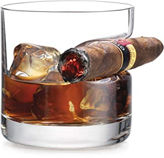 Best Godinger Cigar Whiskey Glass - Old Fashioned Whiskey Glass With Indented Cigar Rest Review