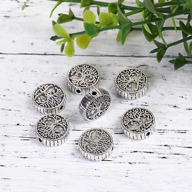PEPPERLONELY 5PC Antique Silver Alloy Round Tree Charms Pendants 15mm(5/8