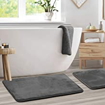 "Memory Foam Bathrug 2 Pack Set - Gray - Bath Mat and Shower Rug Large 20"" x 32"" Inches, Non Slip Latex Free Plush Microfib..."