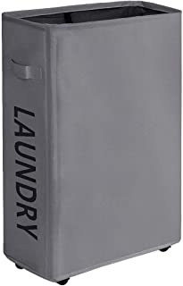 comprar comparacion WOWLIVE Cesto para la Colada Delgada sobre Rueda Práctica asa Plegable Cesta de lavandería Rectangular Impermeable colecto...