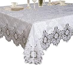 "Violet Linen Elegant Velvet Lace Sheer Floral Deluxe Design Tablecloth, 70"" x 198"", White"