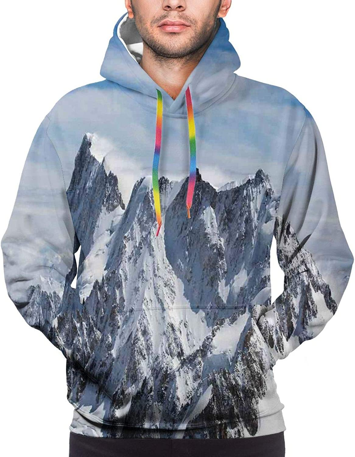 Men's Hoodies Sweatshirts,Picturesque Grand Canyon Cliffs Cathedral Rock in Formations Valley with Violet Sky