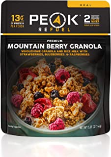 Peak Refuel Mountain Berry Granola with Rice Milk | Dairy Free | Vegan | Freeze Dried Backpacking and Camping Food | Amazing Taste | Quick Prep | Lightweight