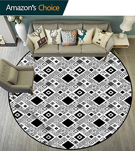 RUGSMAT Black And White Small Round Rug Carpet Big Little Squares Circle Rugs For Living Room Diameter 71