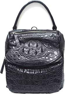 Authentic M Crocodile Skin Womens Hornback Bag Backpack Hobo Black Handbag
