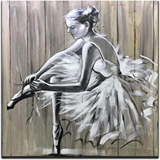 Boiee Art,32x32Inch White Dress Ballerina Girl Dancer Oil Painting Abstract Wall Art on Canvas for Modern Home Wall Decoration Contemporary Artwork Ballet Art Wood Inside Framed Ready to Hang