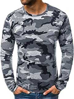 Fashion Men`s Casual Tops Slim Camouflage T Shirt Printed Long Sleeve Blouse