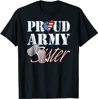 Proud Army Sister American Flag Dog Tag Shirt Women