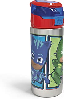 Zak Designs PJ Masks Durable Single Wall Stainless Steel Water Bottle with Push-Button Flip Lid Leak-Proof Design is Perfe...