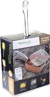 Nuovva - Juego de sartenes cuadrados de cobre antiadherente con tapa (24 cm, 5 piezas, base de inducción grande, ideal para freír horneado, asar y freír horno)