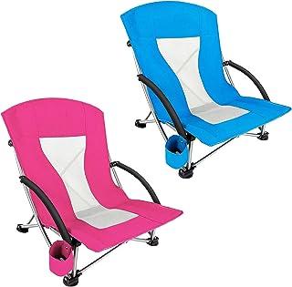 BKWJ Chaise de Camping Basse Pliante 2 pièces, Chaise de Plage Portable ultralégère avec Porte-gobelet et accoudoir Confor...