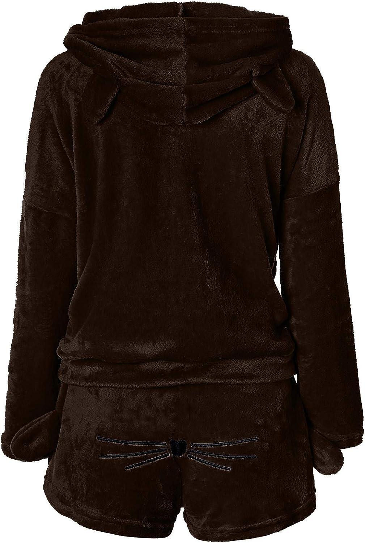 Women Two Piece Pajamas Winter Warm Plush Velvet Cute Cat Print Shorts Hooded Sweatshirt Loungewear Set S-XXXL