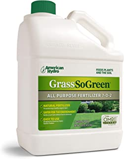 GrassSoGreen Organic All-Purpose Lawn Fertilizer. Safe for Family and Pets – OMRI Certified and Made in The USA.