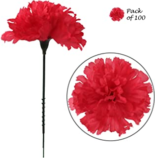Larksilk Fuchsia Silk Carnation Picks, Artificial Flowers for Weddings, Decorations, DIY Decor, 100 Count Bulk, 3.5