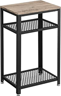 VASAGLE Bryce Side Table, End Telephone Table with 2 Mesh Shelves, for Office Hallway or Living Room, Industrial Accent Fu...