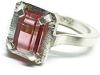 Prezioso anello con preziosa Tormalina Rosa misura 10 mm x 5 mm e 1,49 carati, realizzato interamente a mano in argento st...