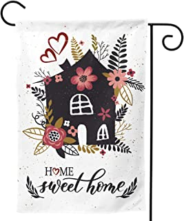 Granbey Home Sweet Home Garden Flag Color Flower Garden Flags Colorful Flowers Floral Print Banner Red Florals House Leave...