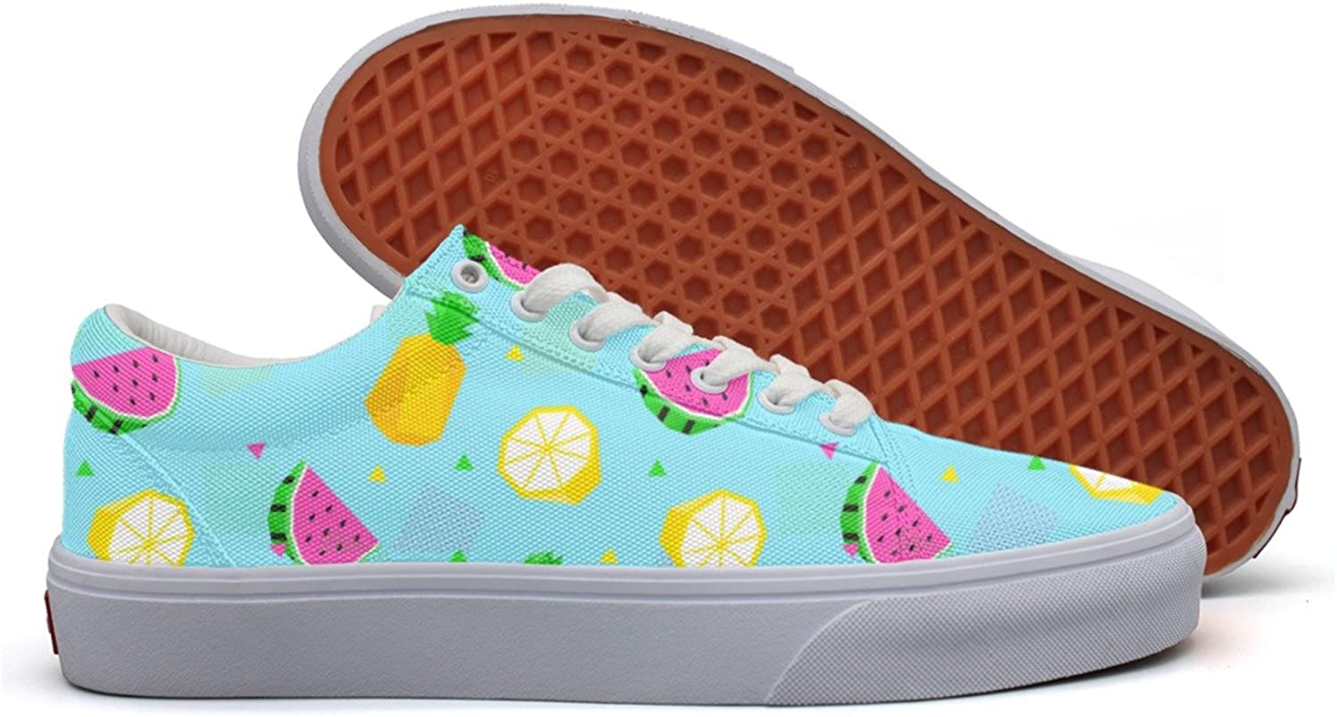 Charmarm Summer Watermelon Pineapple bluee Cartoon Womens Classic Low Top Canvas Slip-ons shoes