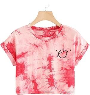Women's Short Sleeve Print Crop Top T Shirt