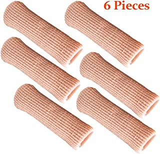 SOHLER 6 Packs Closed Toe Caps Finger Covers Sleeve Protectors, Stretchable Fabric Lined with Soft Gel (Small 3/8
