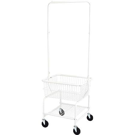 AmazonBasics Laundry Basket Cart with Wheels and Hanging Rack, White