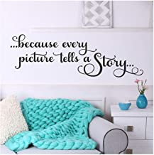 Because Every Picture Tells a Story Vinyl Lettering Wall Decal Sticker (Black, 12.5